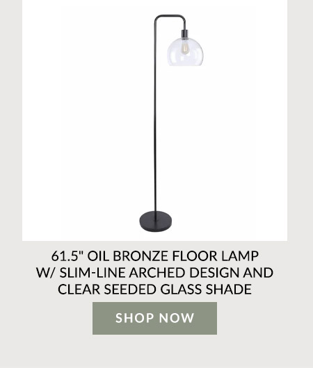 """61.5"""" Oil Bronze Floor Lamp W/ Slim-Line Arched Design And Clear Seeded Glass Shade"""