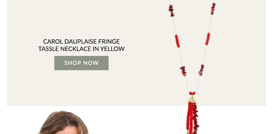 Carol Dauplaise Fringe Tassle Necklace In Yellow