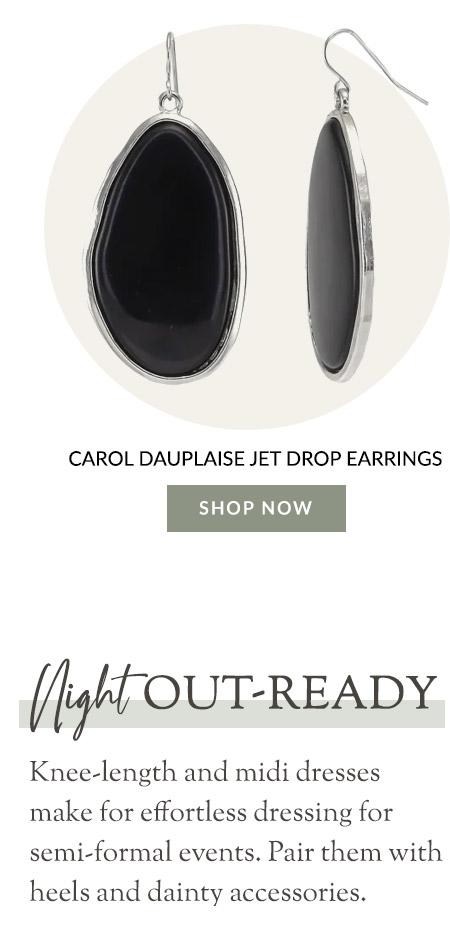 Carol Dauplaise Jet Drop Earrings