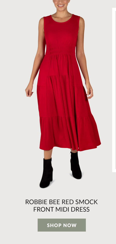 Robbie Bee Red Smock Front Midi Dress