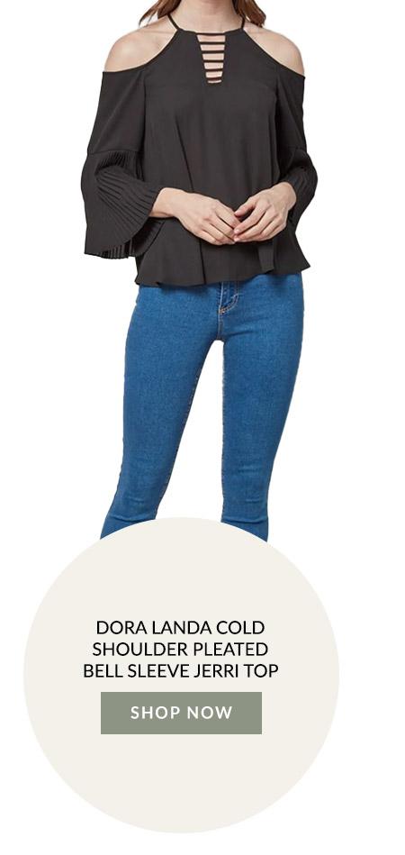 Dora Landa Cold Shoulder Pleated Bell Sleeve Jerri Top