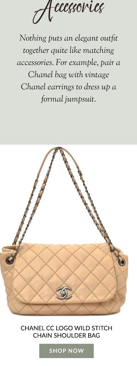 Chanel CC Logo Wild Stitch Chain Shoulder Bag