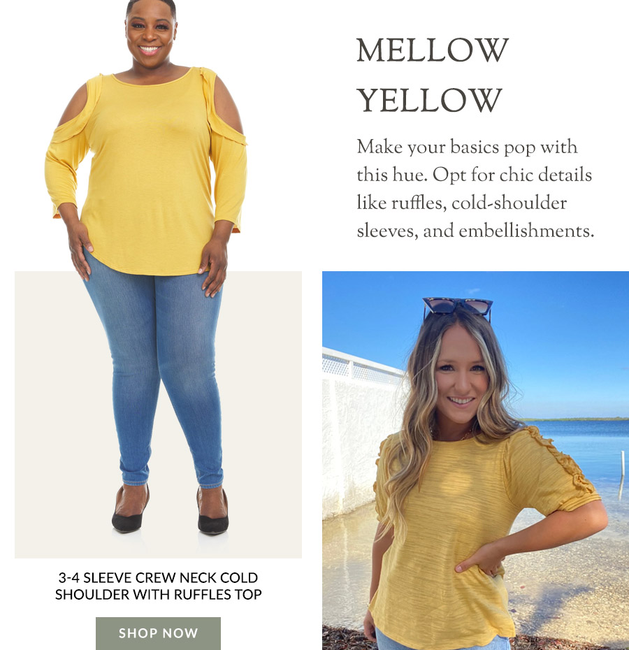 3-4 Sleeve Crew Neck Cold Shoulder with Ruffles Top - Plus