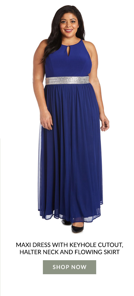 Maxi Dress with Keyhole Cutout, Halter neck and Flowing Skirt - Plus