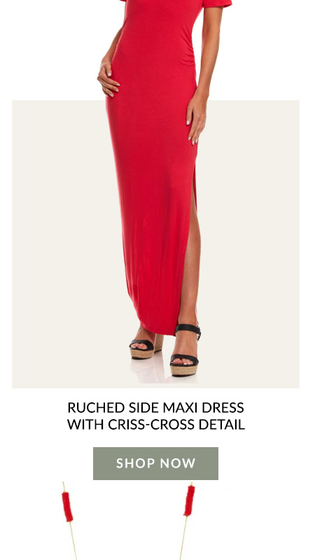 Ruched Side Maxi Dress With Criss-Cross Detail