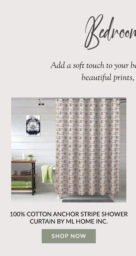 100% Cotton Anchor Stripe Shower Curtain by ML Home Inc.