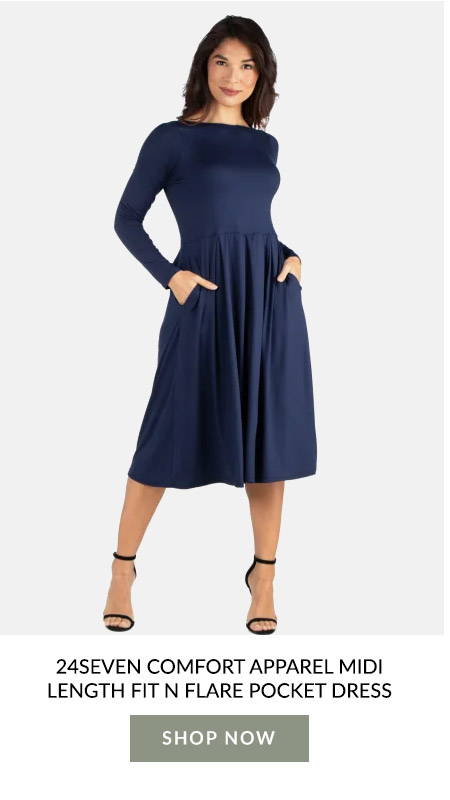 24Seven Comfort Apparel Midi Length Fit N Flare Pocket Dress