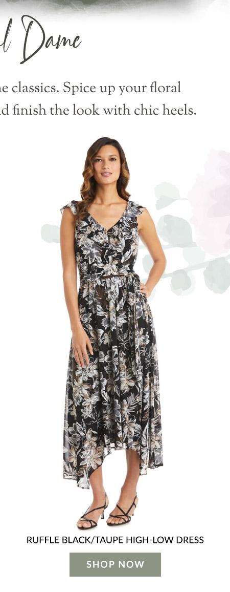 Ruffle Black/Taupe High-Low Dress