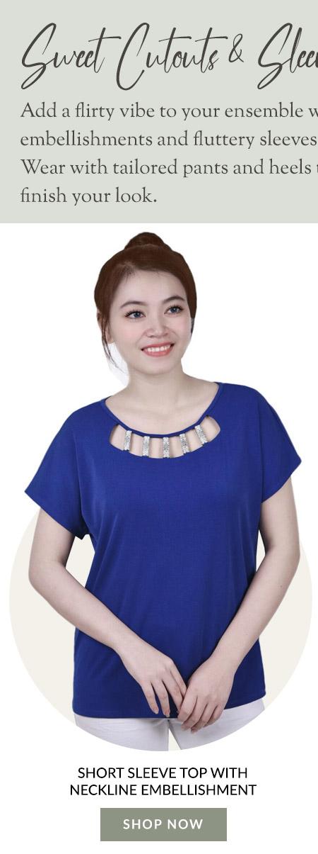 Short Sleeve Top With Neckline Embellishment