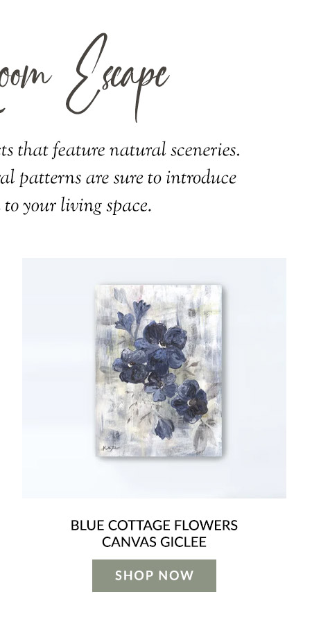 Blue Cottage Flowers Canvas Giclee