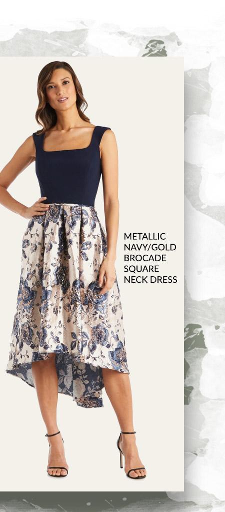Metallic Navy/Gold Brocade Square Neck Dress
