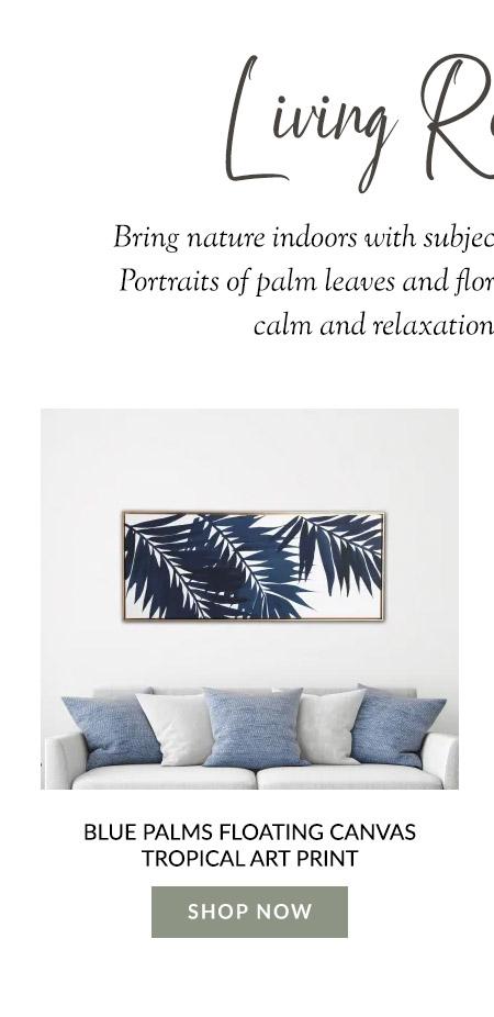 Blue Palms Floating Canvas Tropical Art Print