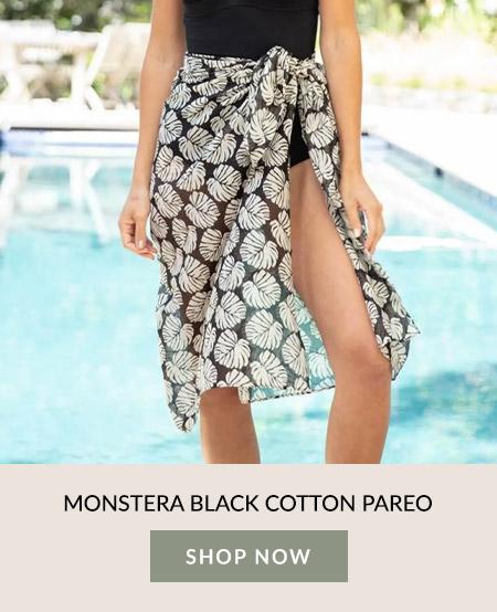 Monstera Black Cotton Pareo