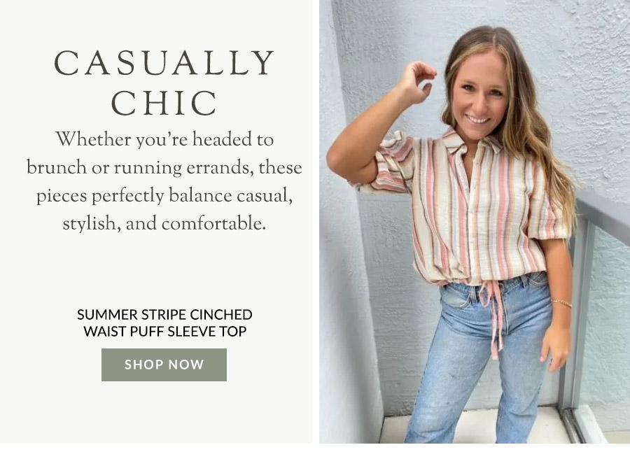 Summer Stripe Cinched Waist Puff Sleeve Top-Plus