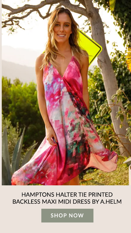 Hamptons Halter Tie Printed Backless Maxi Midi Dress by A.Helm