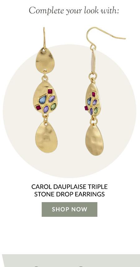 Carol Dauplaise Triple Stone Drop Earrings