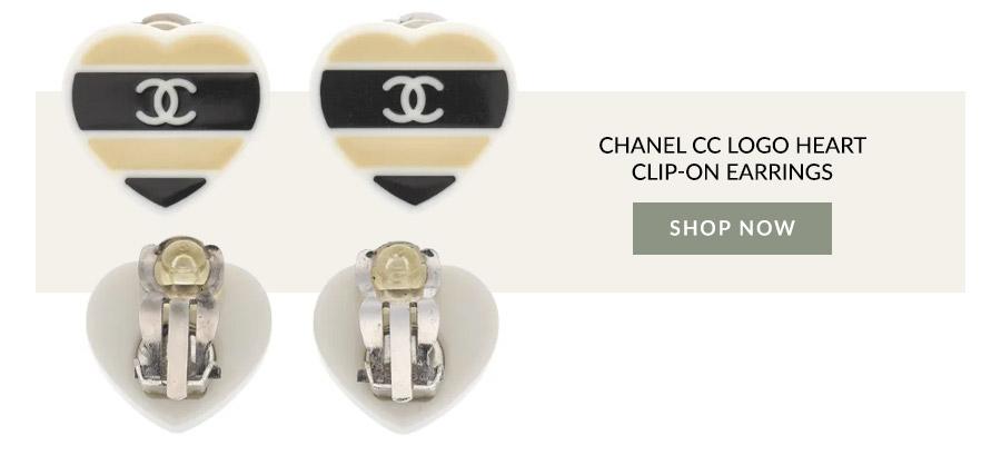 Chanel CC Logo Heart Clip-on Earrings