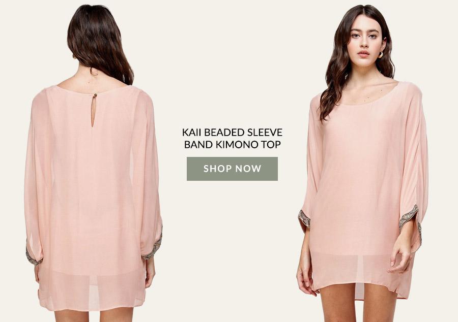 KAII Beaded Sleeve Band Kimono Top