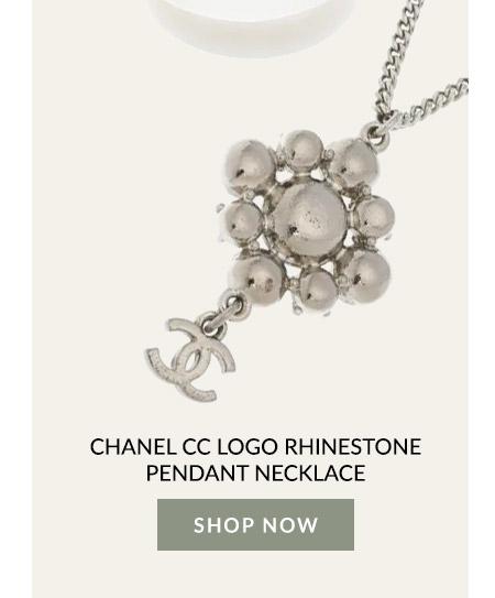 Chanel CC Logo Rhinestone Pendant Necklace