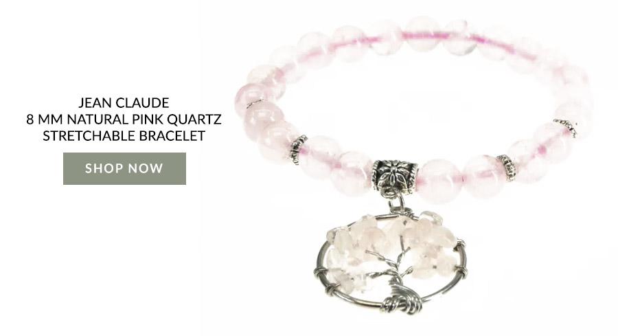 Jean Claude 8 mm Natural Pink Quartz Stretchable Bracelet