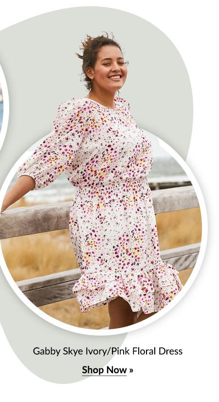 Gabby Skye Ivory/Pink Floral Dress - Plus