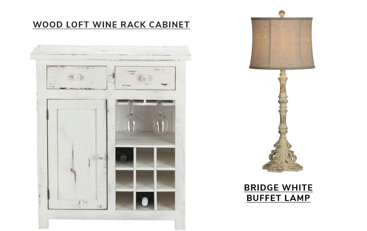 Wood Loft Small Wine Rack Cabinet White Distressed, Bridge White Set of 2 Buffet Lamps   SHOP NOW