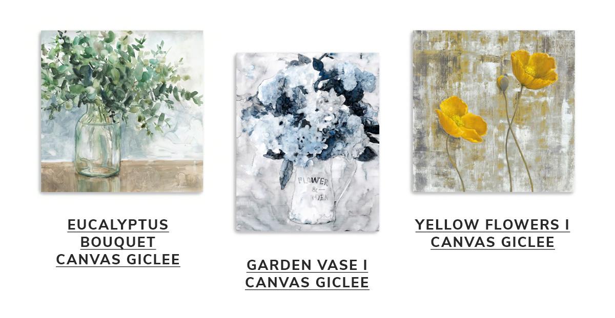 Eucalyptus Bouquet Canvas Giclee, Garden Vase I Canvas Giclee, Yellow Flowers I Canvas Giclee   SHOP NOW