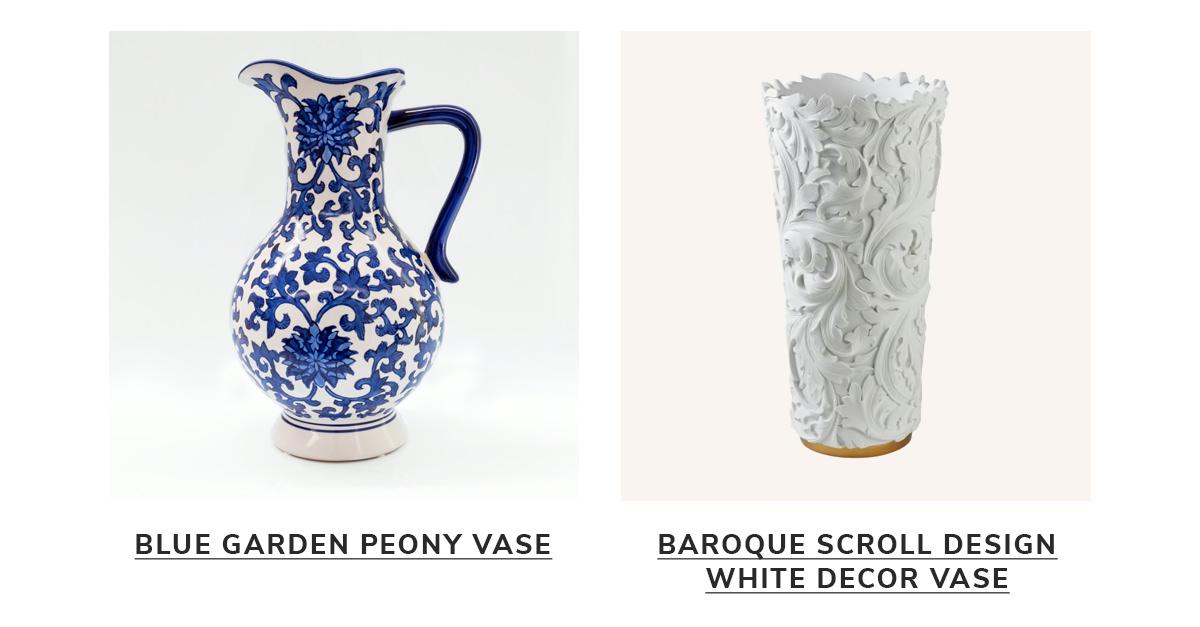 Blue Garden Peony Vase,Baroque Scroll Design White Decor Vase   SHOP NOW