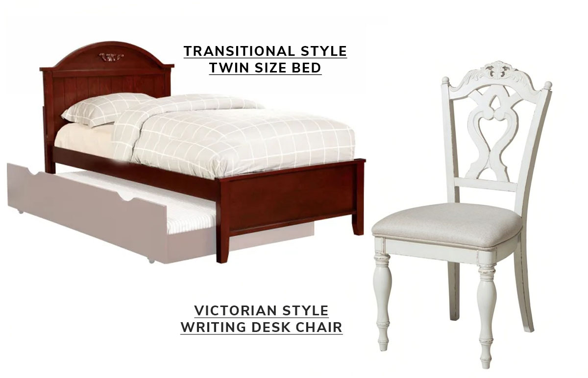 Transitional Style Twin Size Bed with Camel Design Headboard, Cherry Brown, Victorian Style Writing Desk Chair with Engraved Backrest, Antique White   SHOP NOW