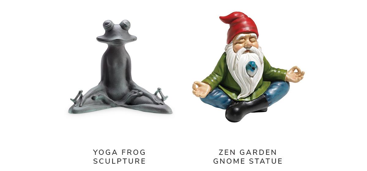 Contented Yoga Frog Verdigris Aluminum Garden Sculpture, Zen Garden Gnome Statue | SHOP NOW