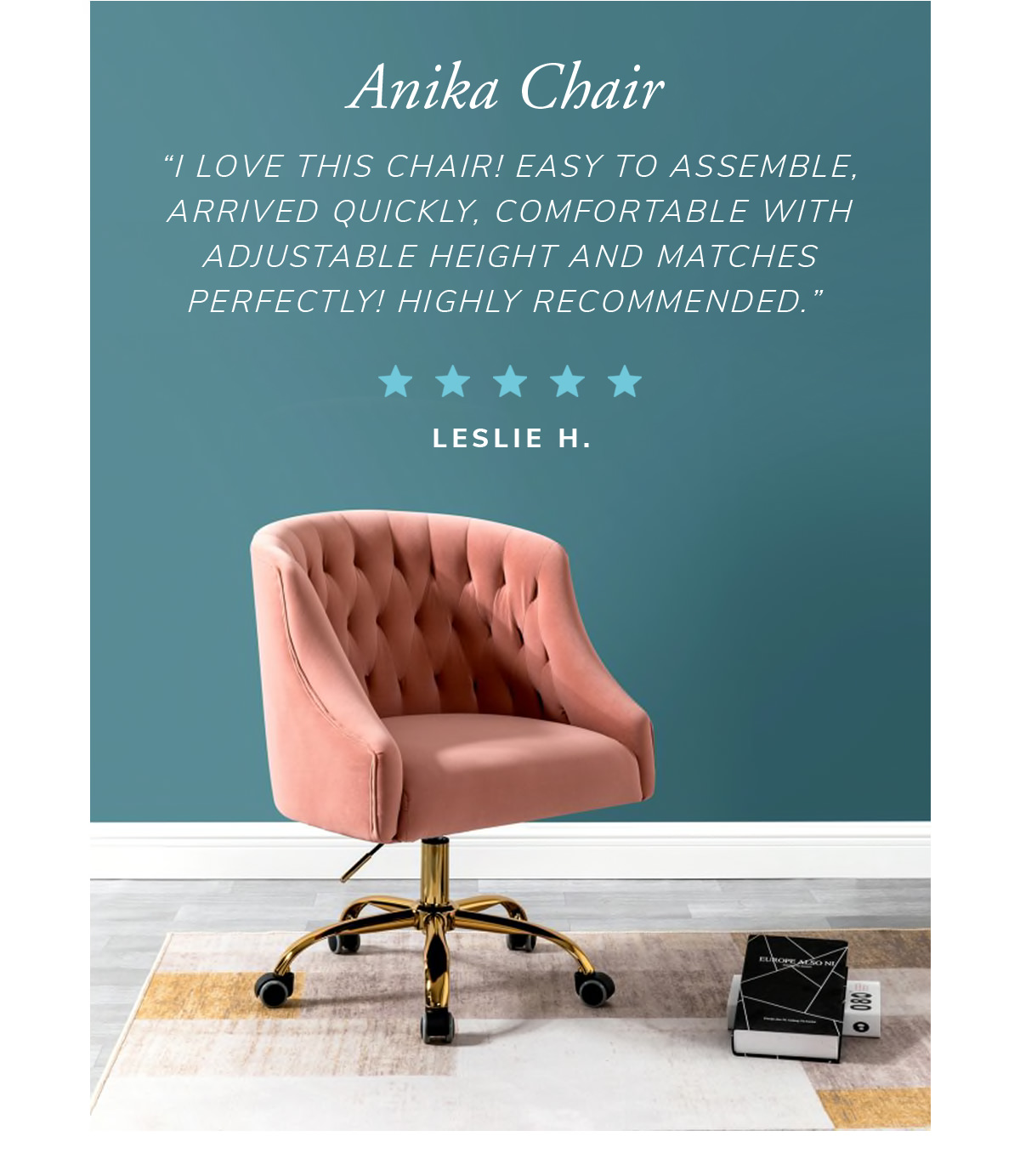 Anika Chair. 'I love this chair! Easy to assemble, arrived quickly. Comfortable with adjustable height and matches perfectly. Highly recommended' | SHOP NOW