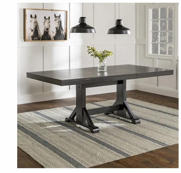 Antique Black 60' Modern Farmhouse Wood Expandable Dining Table | SHOP NOW