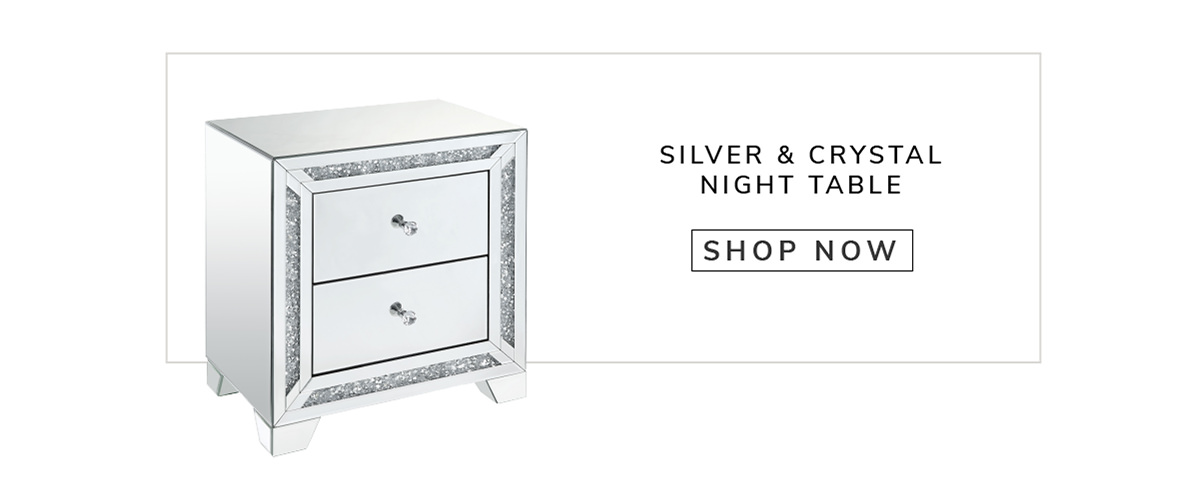 Storage Spaces and Crystal Knobs Wooden Silver NightTable   SHOP NOW