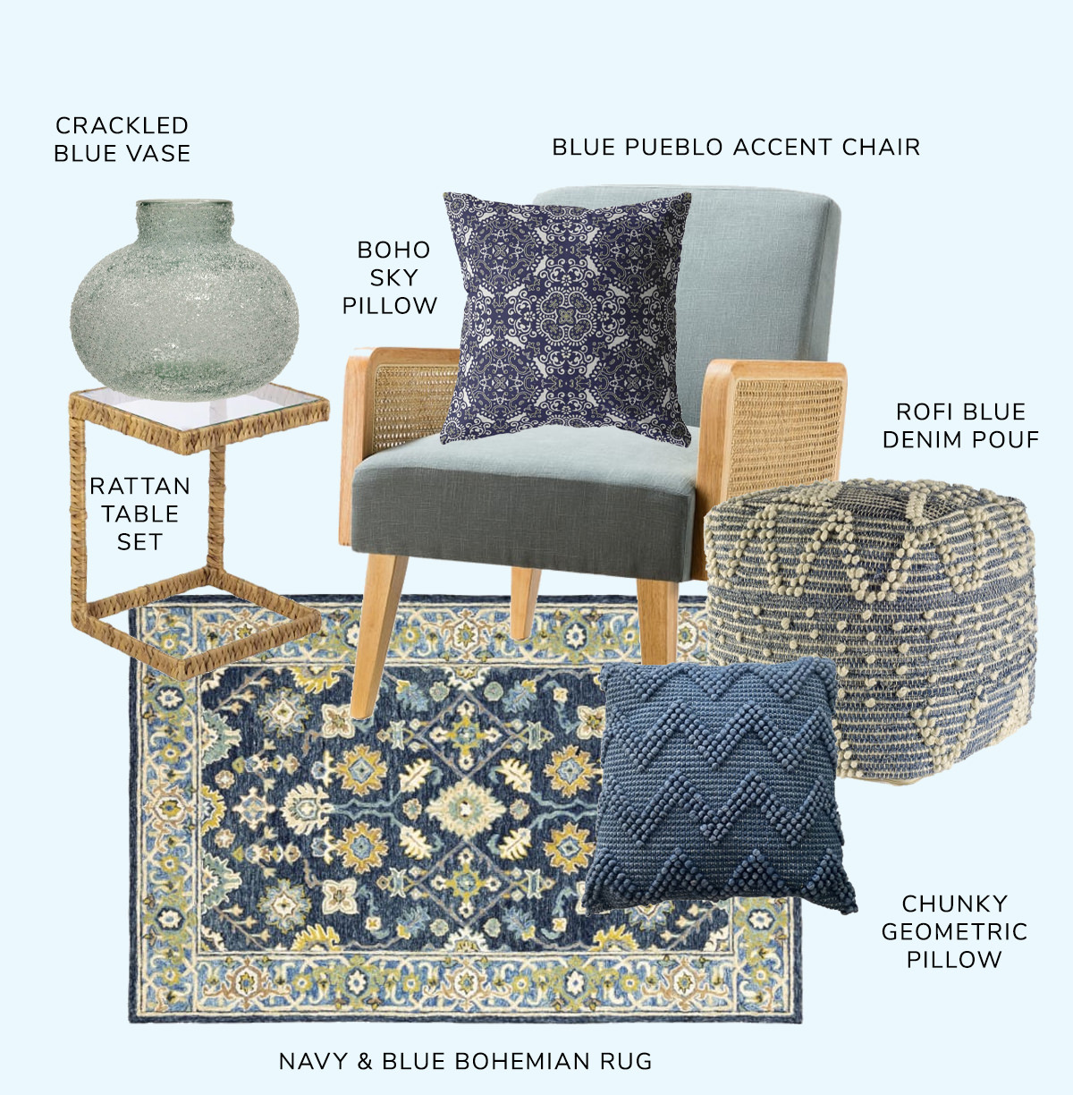 Pueblo Accent Chair, Cormac Water Hyacinth Set of 2 C Tables,Rofi Blue Denim and Ivory Cotton Stitched Square Pouf, Navy and Blue Bohemian Rug, Boho Sky Pillow, Hadley Wool Throw Pillow, Crackled Blue Vase   SHOP NOW