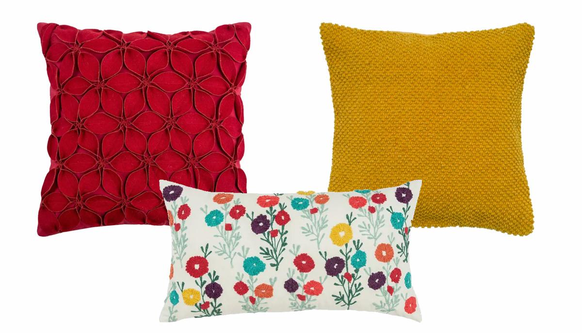 Botanical Petals Pillow, Floral 100% Cotton Lumbar Pillow, Textured Solid Pillow Cover   SHOP NOW
