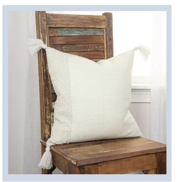 Color Block Tasseled Ivory Pillow Cover | SHOP NOW