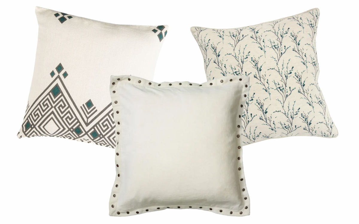 Lancia Beige Pillow, Neutral Pillow Cover, Floral Branches Teal Pillow.   SHOP NOW