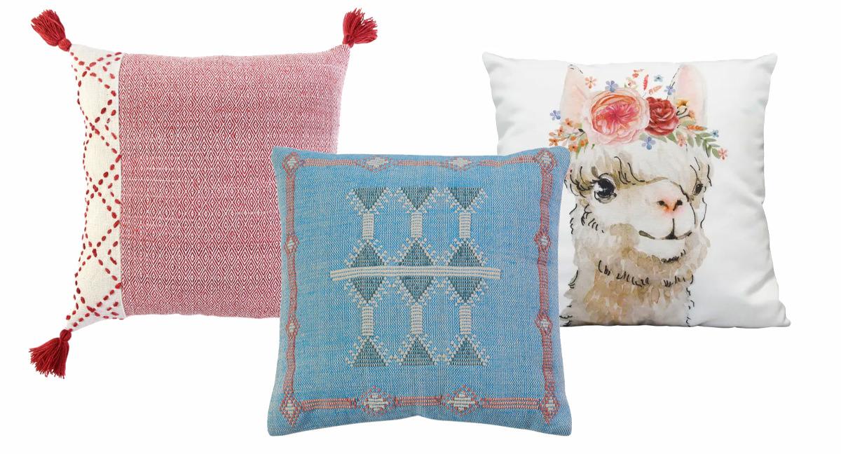 Color Block Tasseled Pillow, Olivine Turqouise Pillow, Boho Flower Llama Square Pillow.   SHOP NOW