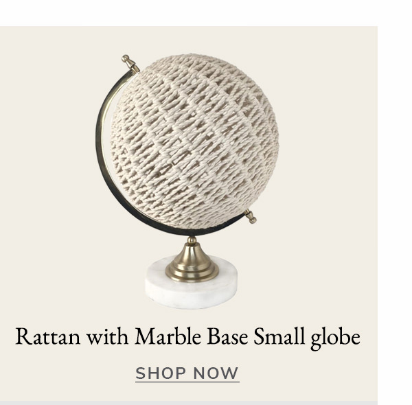 Rattan with Marble Base Small globe | SHOP NOW