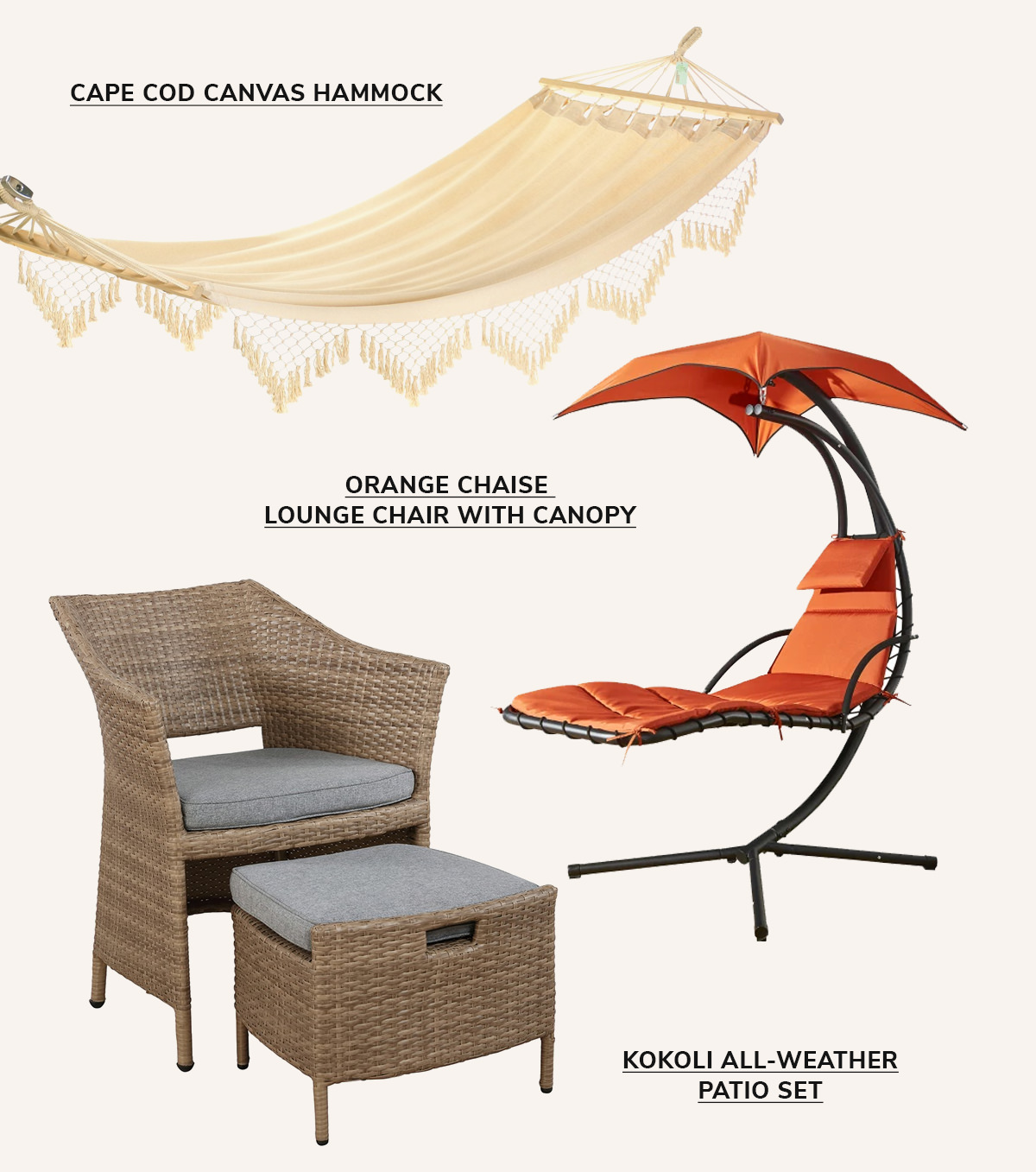 Cape Cod Canvas Hammock,Orange Chaise Lounge Chair with Canopy,Kokoli All-Weather Patio Set   SHOP NOW