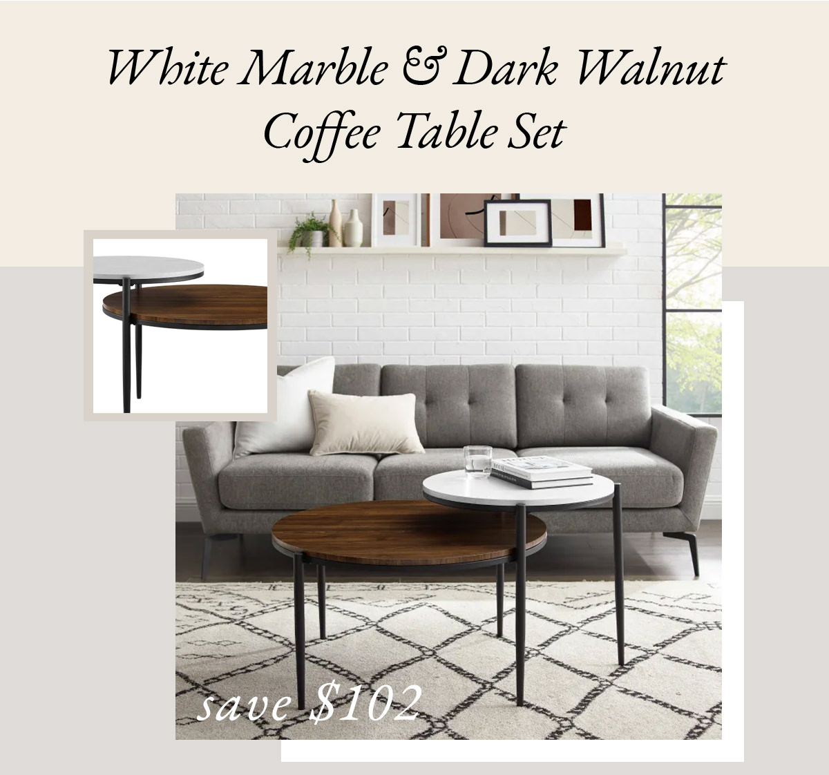 Faux White Marble & Dark Walnut Round Tiered Two-Tone Coffee Table Set | SHOP NOW