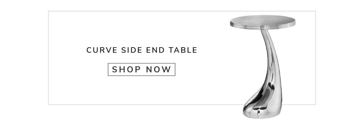 Buffed Aluminum Curve Side End Table   SHOP NOW