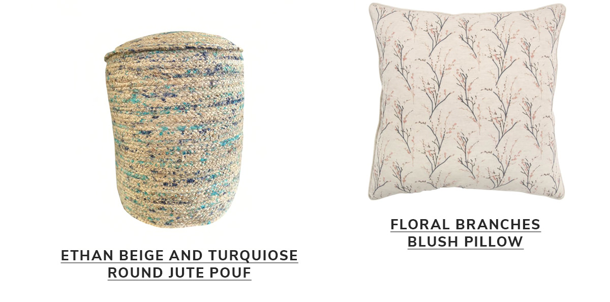 Ethan Beige and Turquiose Round Jute Pouf, Floral Branches Blush Pillow   SHOP NOW