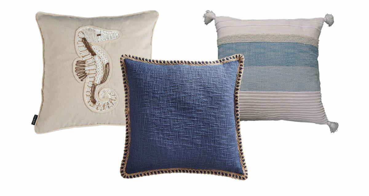 Sanden Seahorse natural pillow, Pier 1 Chunky Jute Trimmed pillow, Handloom Woven Throw Pillow.   SHOP NOW