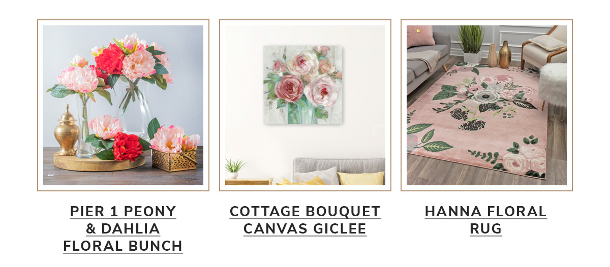 Pier 1 Peony & Dahlia Floral Bunch,Cottage Bouquet Canvas Giclee, Hanna Floral Transitional Garden Pink and Green Rug   SHOP NOW