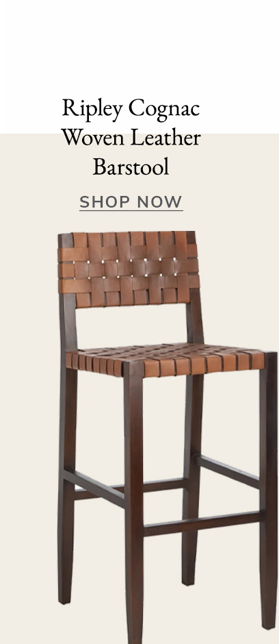 Ripley Cognac Woven Leather Barstool | SHOP NOW