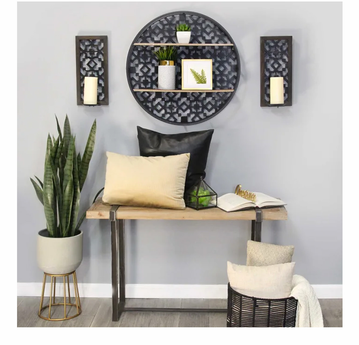 Round Black Boho Metal and Wood Shell   SHOP NOW