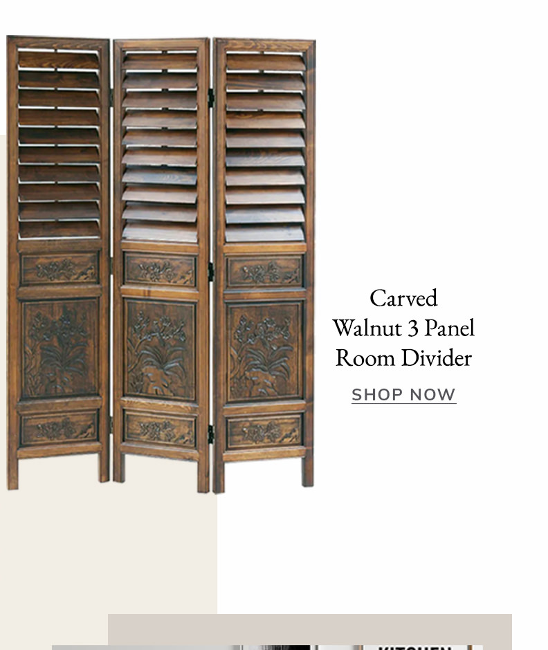 Walnut Brown Wooden Design Screen with Intricate Carvings 3 Panel Shutter Room Divider | SHOP NOW