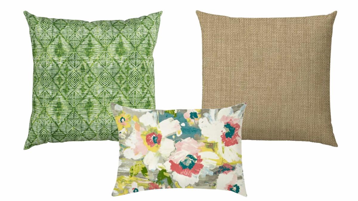 Green Batik Pattern Outdoor Pillow, Amore Grey Outdoor Pillow, Remi Tan Jumbo Outdoor Pillow Cover   SHOP NOW