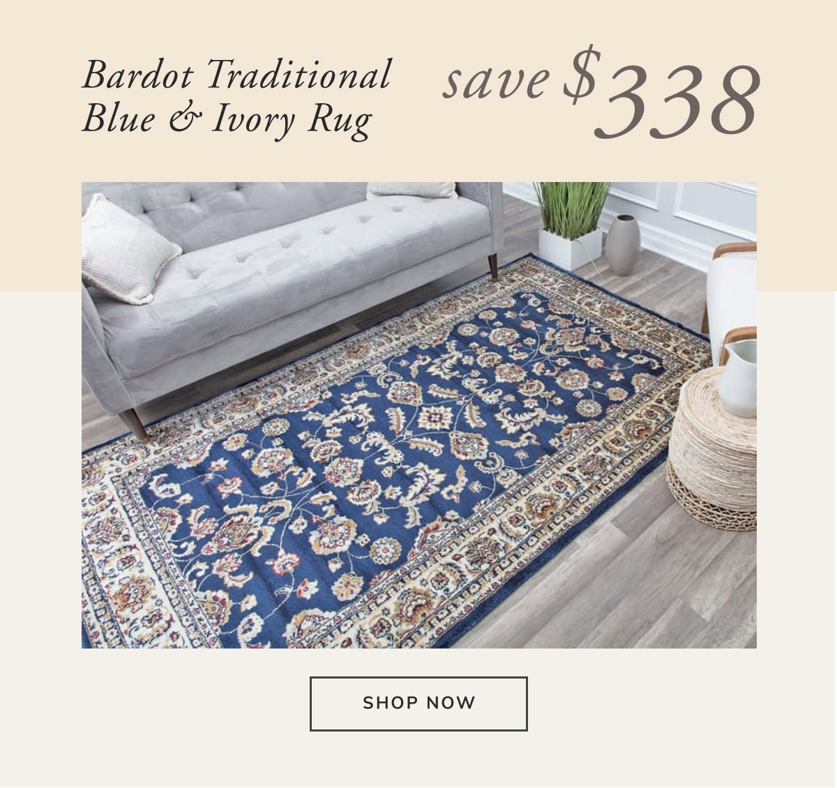 Bardot Transitional Traditional Blue and Ivory Rug. Save $338 | SHOP NOW